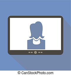 Online support Tablet Icon Vector Illustration.