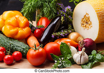 Still life with vegetables and fruits closeup