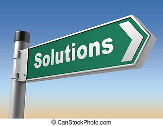 solutions road sign 3d illustration