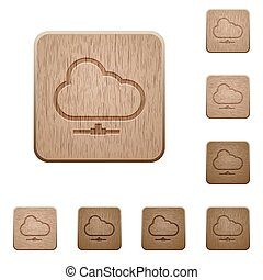 Cloud network wooden buttons - Set of carved wooden cloud...