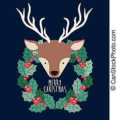 reindeer and wreath of Merry Christmas design