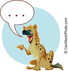 Cartoon Hyena and a word bubble - Vector image of the...