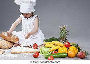 Portrait of Cute Caucasian Female Cook with Lots of...