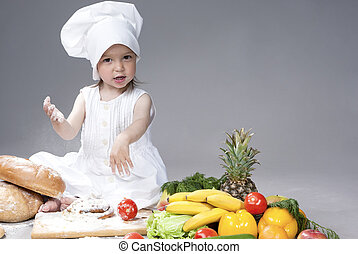Portrait of Cute Funny Caucasian Female Cook with Lots of...