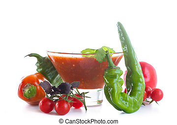 Adjika sauces from fresh vegetables with hot pepper