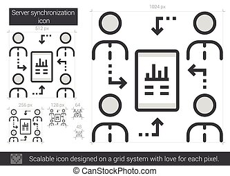 Server synchronization line icon. - Server synchronization...