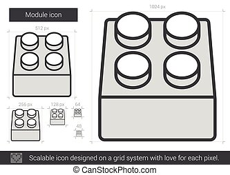 Module line icon - Module vector line icon isolated on white...