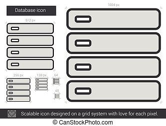 Database line icon - Database vector line icon isolated on...