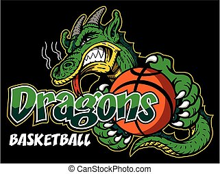 dragons basketball team design with mascot and ball for...