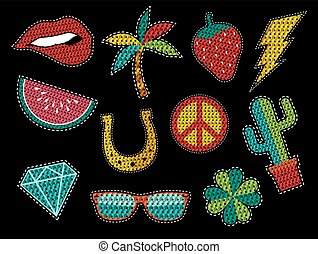 Set of sequin pop art summer patch icons