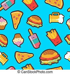 Fast food background with cute cartoon elements