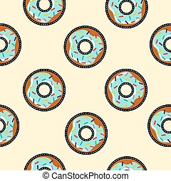 Seamless background with cartoon donut food - Seamless...