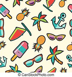 Seamless pattern with cartoon summer designs - Summer...