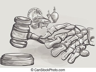 auction - abstract auction. human skeleton holding a gavel