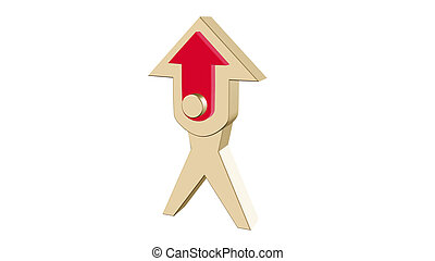 3D illustration gold arrow. 3D rendering with red middle on white background.