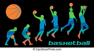Set different poses basketball players in silhouettes.