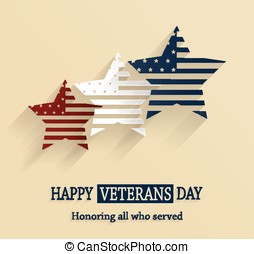 Happy Veterans Day poster Honoring all who served Vector...