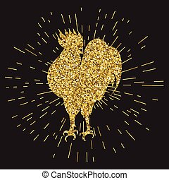 Golden glitter rooster on black background. Hand-drawn doodle silhouette
