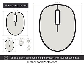 Wireless mouse line icon - Wireless mouse vector line icon...