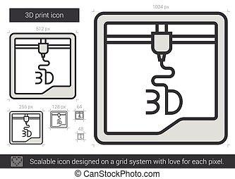 Three D print line icon. - Three D print vector line icon...
