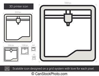 Three D printer line icon. - Three D printer vector line...