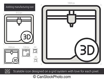 Additing manufacturing line icon - Additing manufacturing...