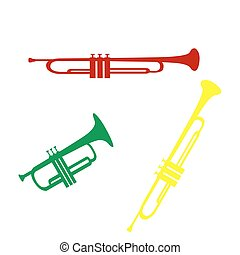 Musical instrument Trumpet sign Isometric style of red,...