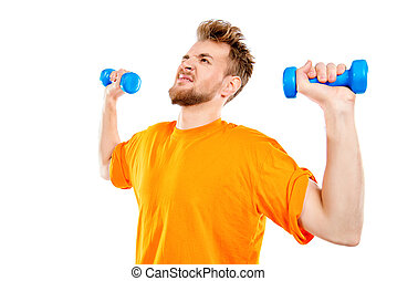 sports metaphor - Laughing young man with dumbbells. Sports,...