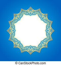 Gold frame on an abstract blue background.