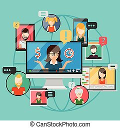 Web conference concept or online internet business...