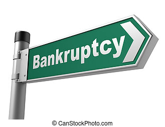 bankruptcy road sign 3d illustration