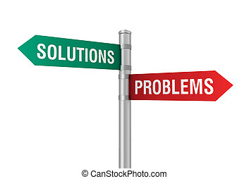problems solutions road sign 3d illustration - problems...