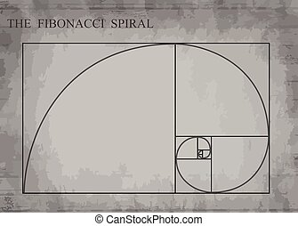 The Fibonacci spiral on retro style - The Fibonacci spiral...