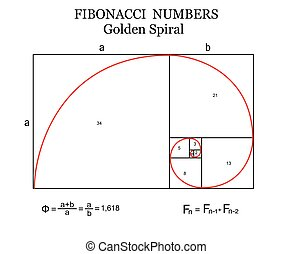 The Fibonacci spiral (also known as the Golden Spiral) with...