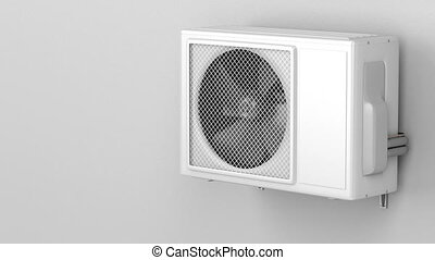 Air conditioner on grey wall