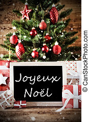 Tree With Joyeux Noel Means Merry Christmas - Christmas Card...