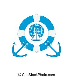 Stylized icon of a colored yacht, sailing over the waves on a globe in lifebuoy with two anchors