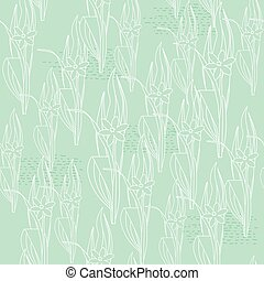 Floral light green seamless pattern. Meadow. Vector...