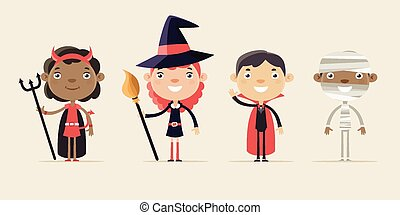 Children in Halloween Costumes. Flat Design Style.