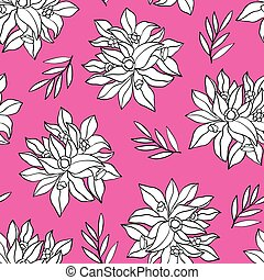 Pink pattern with white flowers. - Seamless pink background...