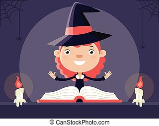 Little Witch with Book of Magic