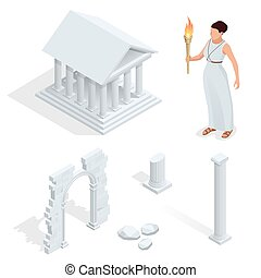 Isometric Greek temple, Greek goddess of beauty Aphrodite. Acropolis of Athens ancient monument in Greece. Flat cartoon style historic sight showplace attraction web site vector illustration.