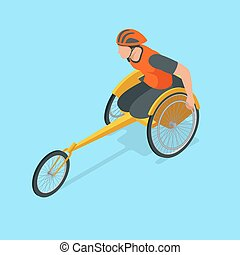 Isometric Olympic sports for peoples with disabled activity. Vector illustration paralympics player