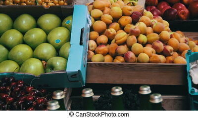 Fruits and Vegetables on a Street Market - Farm fruit...
