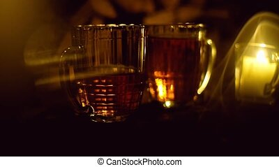 Golden beer poured into a glass, the festival Oktoberfest -...