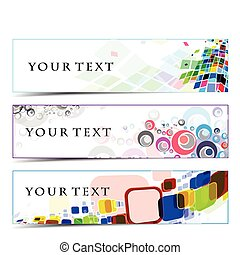 Abstract banners on colorful themes, multi-coloured, vector...
