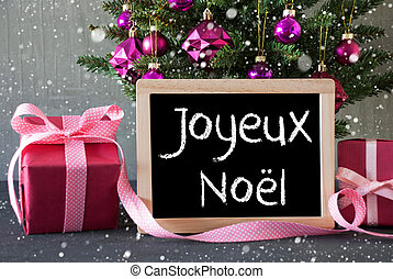 Tree With Gifts, Snowflakes, Joyeux Noel Means Merry...
