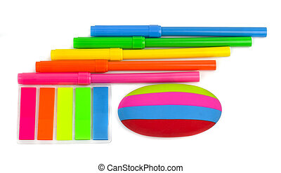 School stationery isolated over white background