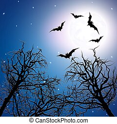 Flock of bats above the trees at night time. Halloween...