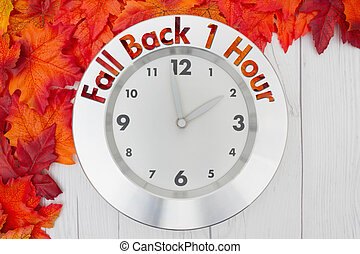 Fall Time Change, Some fall leaves and a clock on weathered...